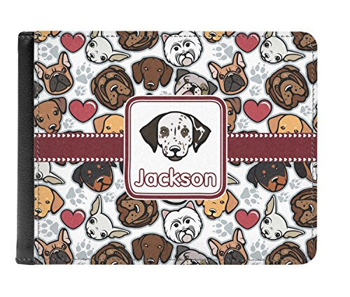 Genuine Personalized Dog Faces Wallet Men's fold Dog Leather Faces Bi xzzwqPtTB
