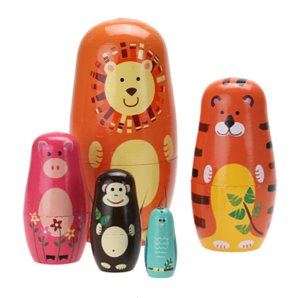 ZHUOTOP Cute Wooden Animal Paint Nesting Dolls Babushka Russian Doll Matryoshka Gift Hand Paint Toys Home Decoration Gifts 5pcs/set