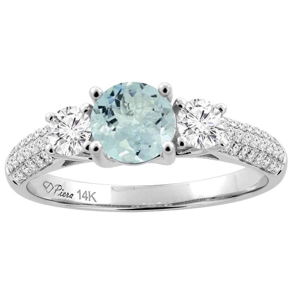 14K White Gold Natural Aquamarine Engagement Ring Round 6 mm & Diamond Accents, size 8