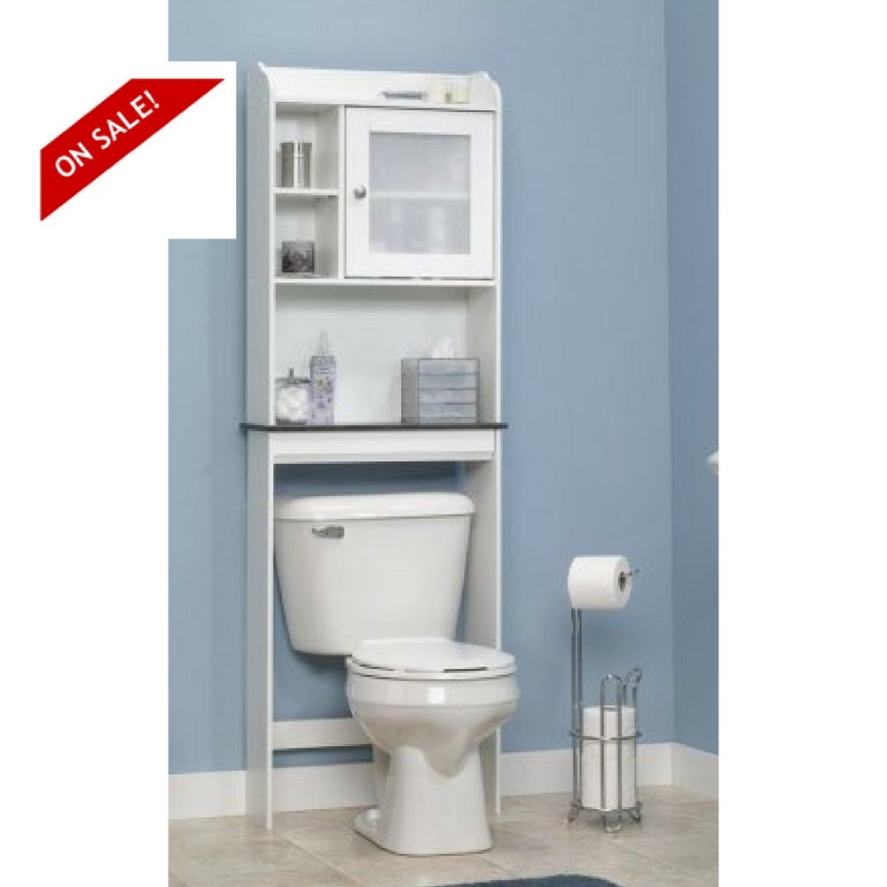 Vanity Storage Unit Bathroom White Shelves Organizer Over The Toilet Etagere Cabinet & eBook By Easy&FunDeals