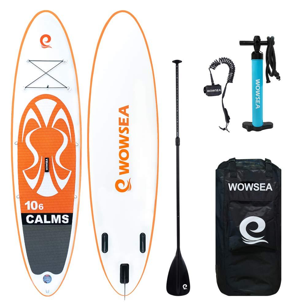 WOWSEA Tabla Hinchable Paddle Surf, 2019 Paddle Board Hinchable con tamaño 320 * 81 * 15cm, Carga hasta 135kg - Naranja