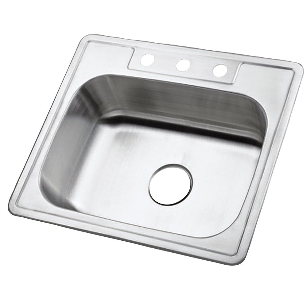Kingston Brass Gourmetier GKTS2520 Self Rimming Single Bowl Kitchen Sink 3 Holes 25-Inch-Length by 22-Inch-Width by 6-Inch-Depth, 22 Gauge, Brushed Stainless Steel