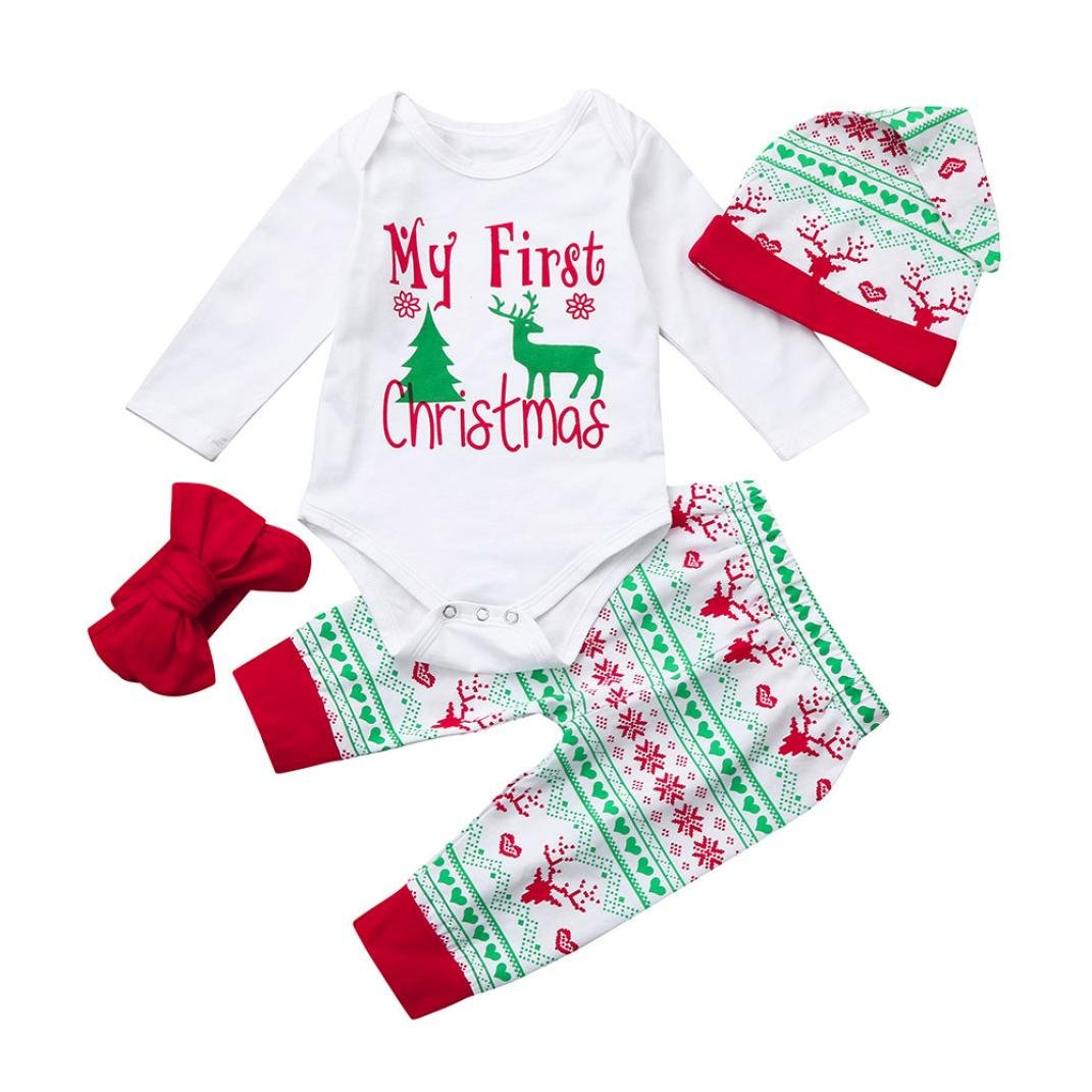 Neugeborene Kleidung Hirolan 4 Stück Weihnachten Strampler Ausstattung Beschriftung Outfits Weiß Lange Ärmel Tops Hirsch Drucken Hose Kappe Rot Stirnband Unisex Kleider Sätze