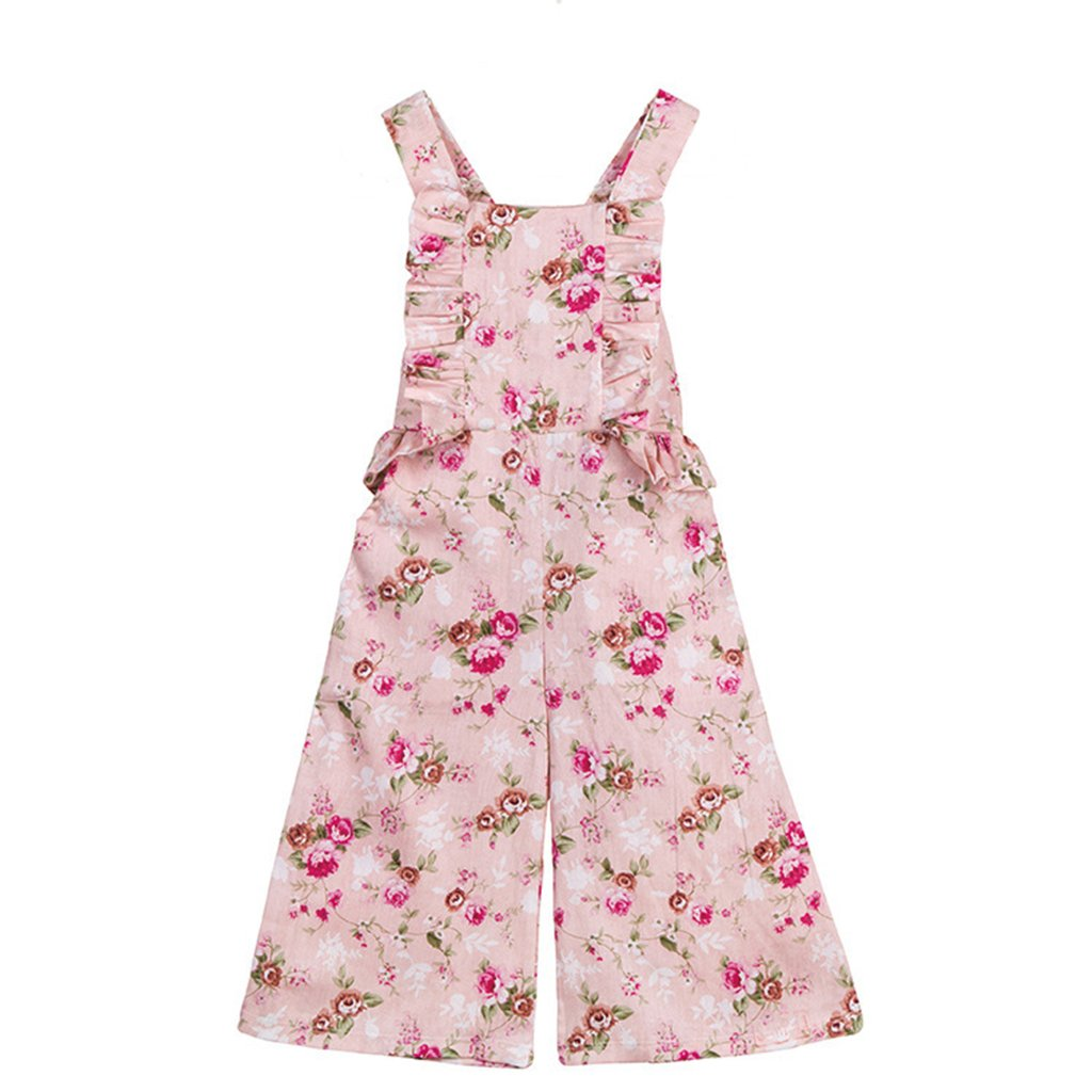 Everweekend Girls Pink Floral Ruffles Summer Cotton Overalls Pants (7T) by Everweekend (Image #1)