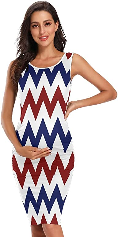 Red White And Blue Chevron Stripe Summer Casual Maternity Dress Pregnancy Sleeveless Chothes At Amazon Women S Clothing Store