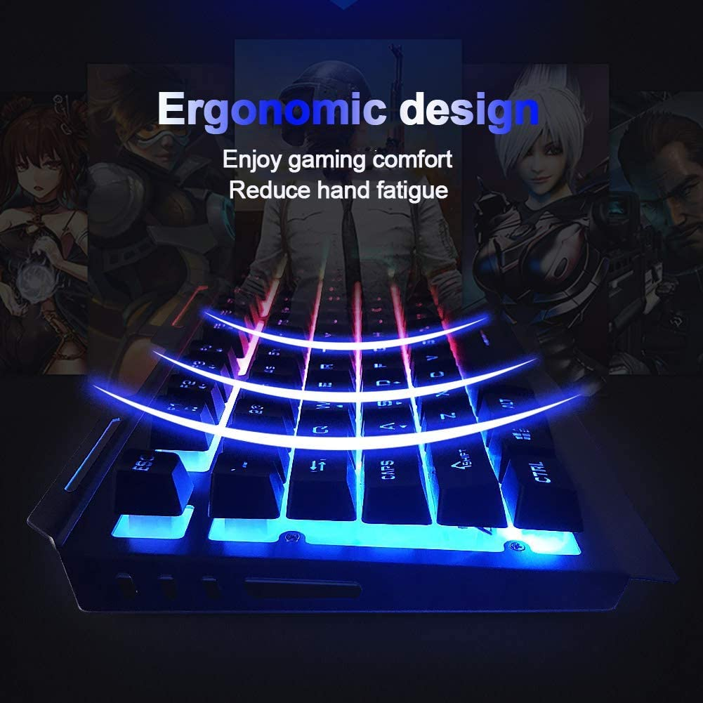 Mouse Keyboard Set YYZLG Rainbow Led Backlit Multimedia USB Ergonomic Gaming Keyboard
