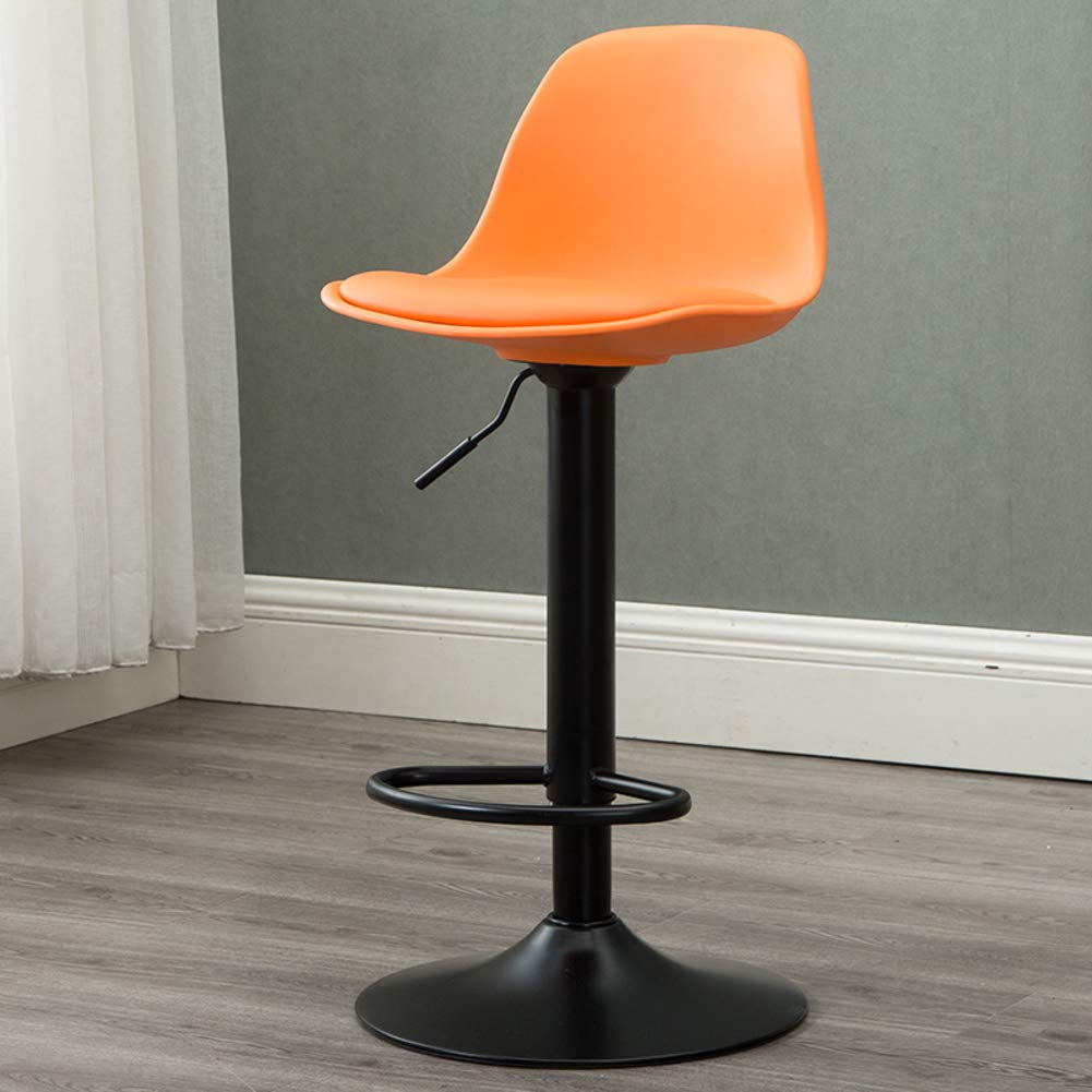 orange Modern Swivel Barstools, Height-Adjustable Chair High Stool with Backs Pub Chair Plastic Filled Cotton Counter Bar Stool Chair for Bar Office Home-Yellow