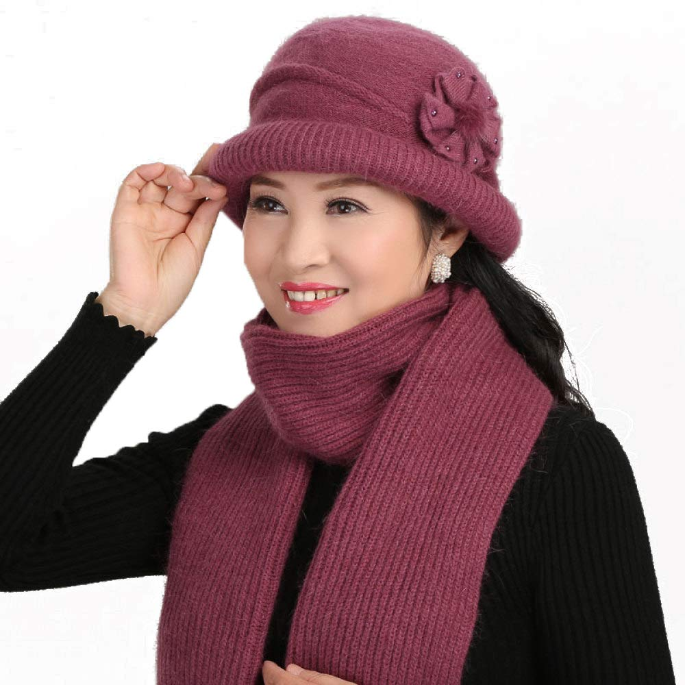 D Women's Hat Scarf TwoPiece Old Man Winter Mother Plus Velvet Thickening Basin Cap Suit Knitting,AOneSize