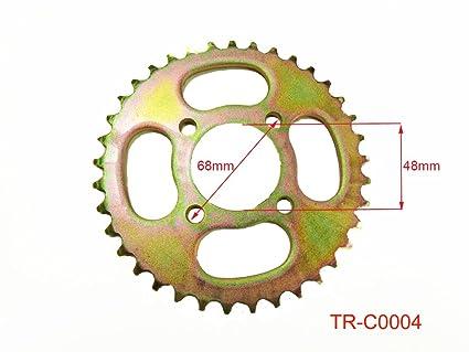 Rear Engine Chain Sprocket 420 37 Teeth for 50cc 90cc 110cc 125cc Chinese  ATV Dirt Bike Quad TaoTao Roketa Sunl (Gold)