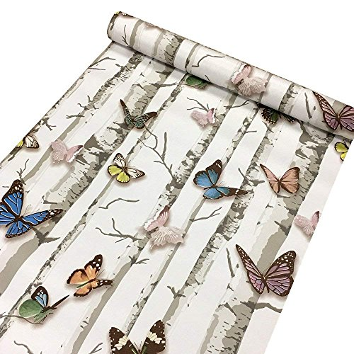 Contact Paper Decorative Colorful Butterfly Self Adhesive Shelf Liner Peel and Stick Wallpaper for Kitchen Cabinets Drawers Shelves Countertops Windows Walls Crafts 17.7