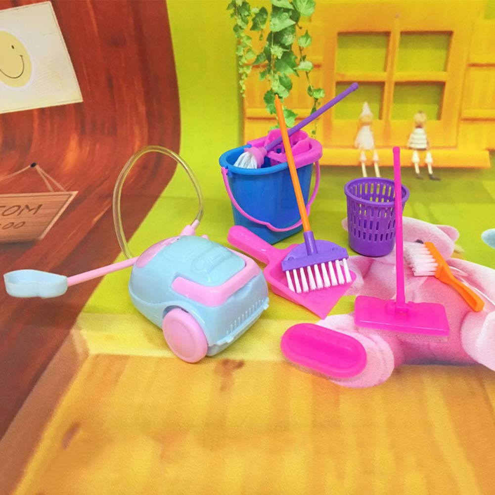 MAJGLGE 9PCS Strumento di Pulizia Scopa Toy Pretend Play Furniture Mini Housekeeping Brush –  Colore Casuale