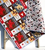 Western Baby Quilt Roping Horses Cowboy or Cowgirl Red Navy Blue Gray Tan Brown Boots Saddle Bull Skull Riding Howdy Yee-haw Toddler Bedding