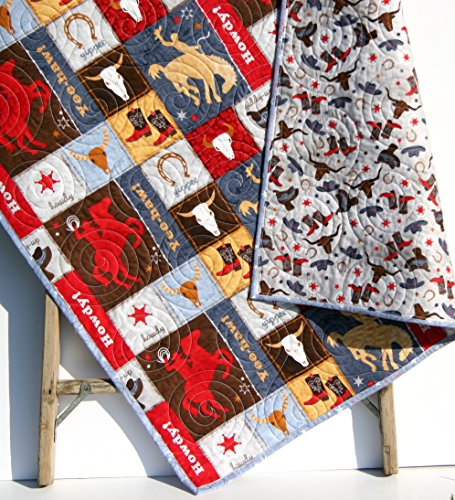 Western Baby Quilt Roping Horses Cowboy or Cowgirl Red Navy Blue Gray Tan Brown Boots Saddle Bull Skull Riding Howdy Yee-haw Toddler Bedding by Sunnyside Designs
