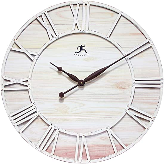 Farmhouse Fusion Oversized Wall Clock Coastal White Ivory Open Face Brown Hands Rustic Distressed Design Large Decorative Wall Clock
