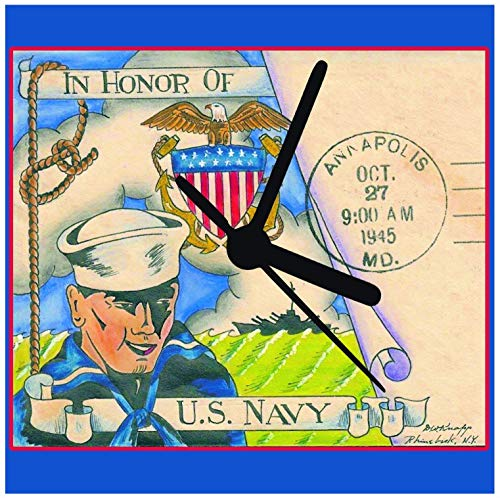 (Military Service Clocks, Navy Army Coast Guard Marine Vintage Art First Postal Quiet Quartz Desk Wall Great Gift for American Service)