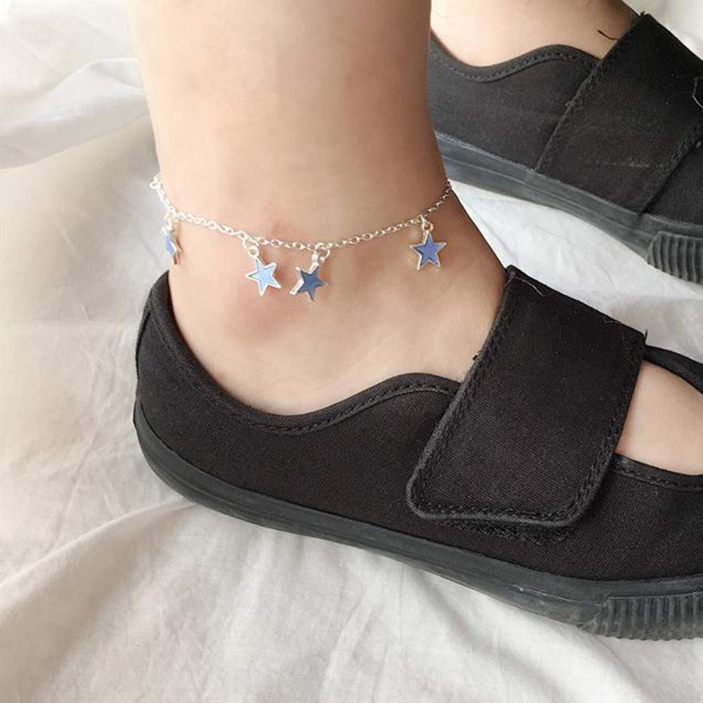 Yiwa Mode Phosphorescent en /étoile Pentagramme Pendentif Cheville Sandales de Plage Pied Cha/îne Femme Bijoux