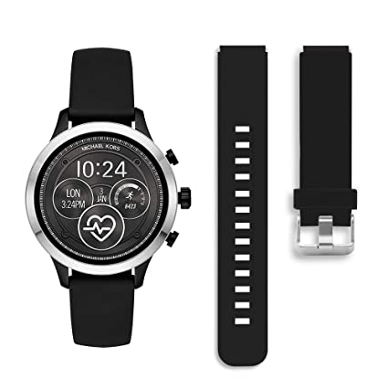 Diruite for Michael Kors Access Runway Band Strap, 18mm Classic Silicone Band Strap for MK Runway MKT5045 / 5048 Smartwatch - Black