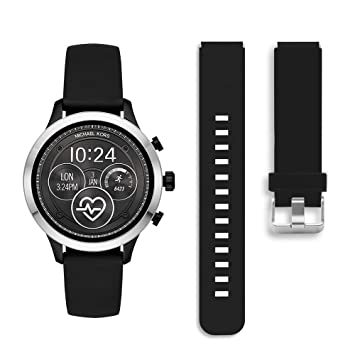 Diruite for Michael Kors Access Runway Band Strap, 18mm Classic Silicone Band Strap for MK Runway MKT5045 / 5048 Smartwatch - Black (Permanent ...