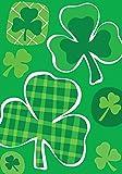 Toland - Lucky Clovers - Decorative Shamrock Saint Pat Patrick Green Plaid USA-Produced House Flag