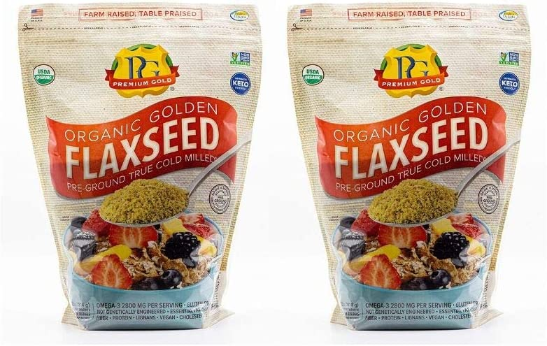 Premium Gold Organic Ground Flax Seed | High Fiber Food | Omega 3 | 4 pounds (2 Pack(4 pounds))