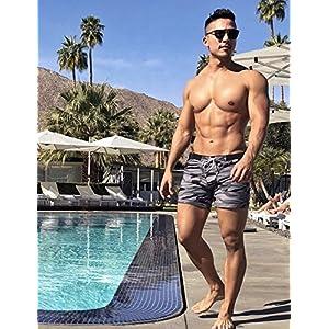 Taddlee Swimwear Men Basic Long Swimming Trunk Surf Camo Shorts Swimsuits Pocket, Gray, X-Large