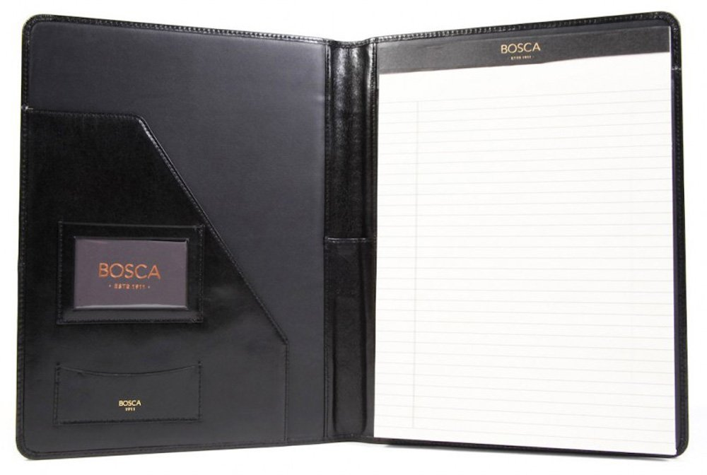 Bosca Men's 8 1/2'' X 11'' Writing Pad Cover, Black, One Size