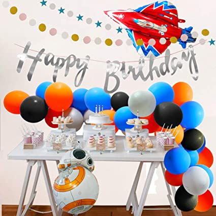 Outer Space Birthday Party Decorations 35 In Rocket Balloons Shuttle Happy Banner Glitter Silver