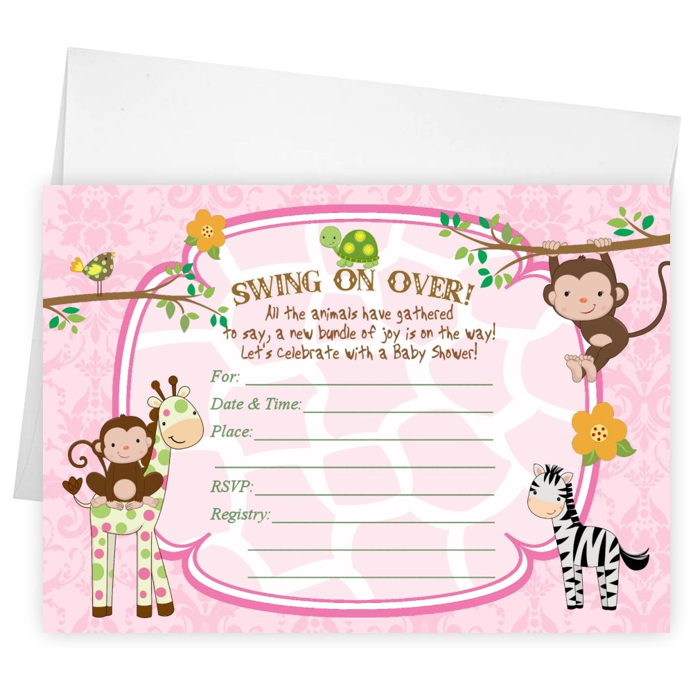 Amazon.com: Fill in the Blank Baby Shower Invitations Zebra Tiger Monkey  Jungle Cards: Kitchen & Dining