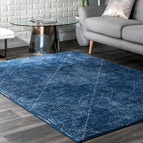 Decomall Waltz Geometric Cirlces Abstract Modern Contemporary Multicolor Area Rug for Living Room Bedroom, 4×6 ft, Blue-Red