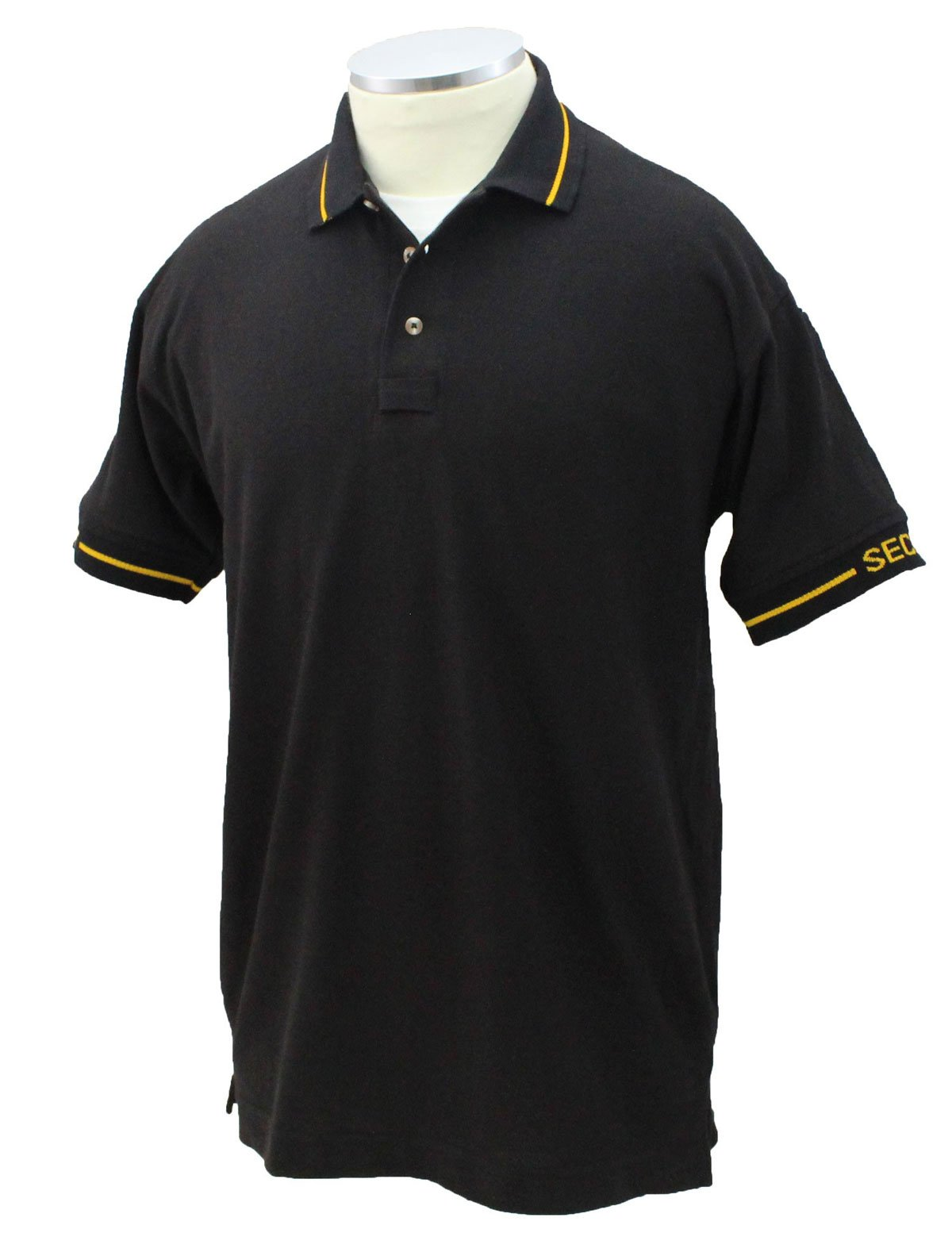 First Class Poly/Cotton 60%/40% Security Polo Shirts (Small, Black W/Gold)