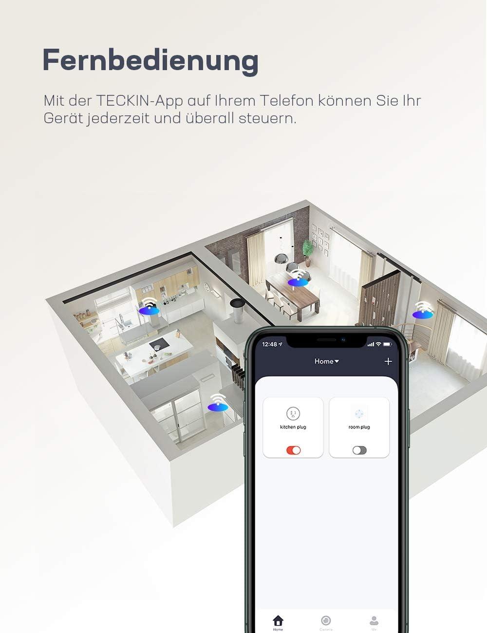 4 Pack Teckin Wlan Steckdose Smart Steckdose Wifi plug 16A Stecker Funktionieren mit Google Home und Alexa Fernbedienbar und Sprachsteuerung Stromverbrauch messen auf nur 2.4 GHz Netzwerk