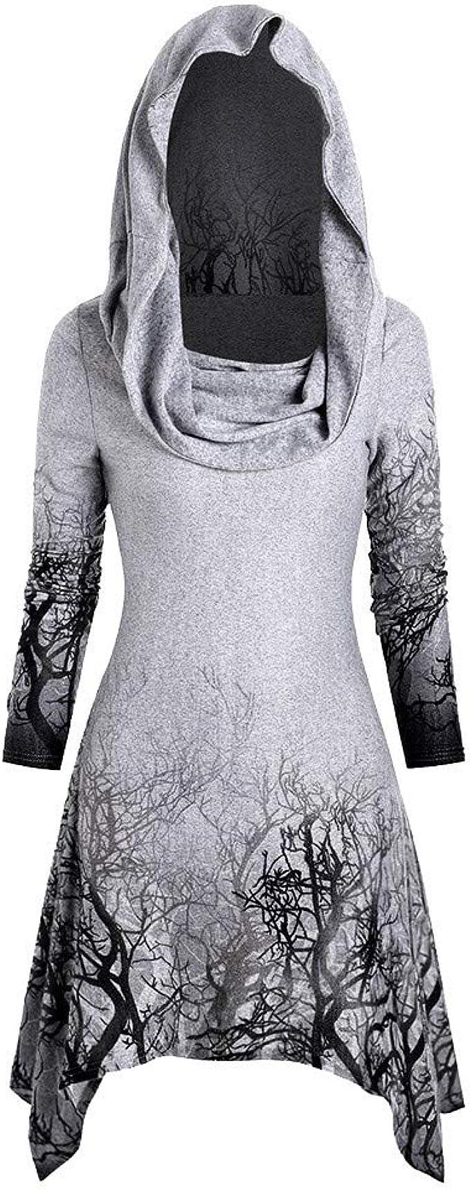 BHYDRY Frauen Halloween Tree Print Cabrio Kragen asymmetrische Strickwaren Mantel Tops