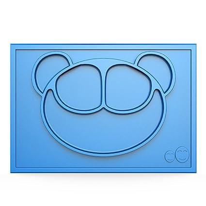 todo en uno antideslizante silicona bebé/mantel individual y cuenco/dividido plato de succión azul azul Talla:Smiley Face