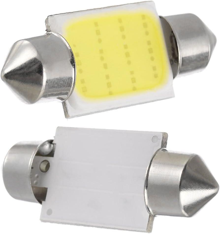 taben C5/W 31/mm 3022/6461/LED Festoon Bombilla LED COB luz bombilla super brillante de c/úpula de Placa de Licencia de chipsets DE3021/DE3022/blanco 12/V Pack de 2