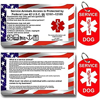 9e4425d9ccb8 Service Dog ID Tag Kit, 50 Double Sided ADA Information Cards and 2 Premium  Aluminum