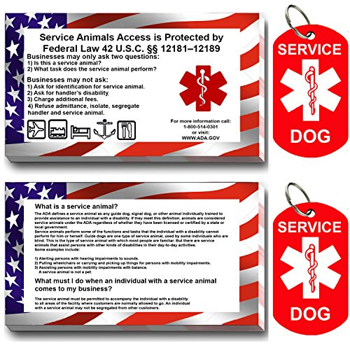 Service Dog ID Tag Kit, 50 Double Sided ADA Information Cards and 2 Premium Aluminum Double Sided Dog Tags (ADA Kit With Military Tags)
