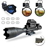 Airsoft Gun Scopes, UMsky C4-16x50mm AR15 Tactical Air Rifle Scope Red&Green Mil-Dot Illuminated and 4 Holographic Reticle Red/Green Dot Sight Hunting Optics for 22&11mm Weaver/Picatinny Rail Mount