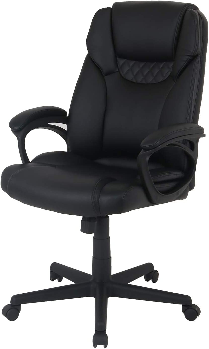 LCH High Back PU Leather Office Chair – Adjustable Ergonomic Swivel Executive Computer Desk Chair, with Comfort Thick Padding Lumbar Support for Home Office Black