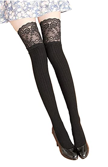 a2626918e87 Zelta Women s Lace Top Over the Knee Socks Stocking Knee-High Hosiery Soft  Cotton (