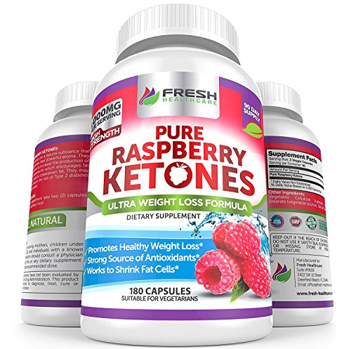 Pure 100% Raspberry Ketones Max 1000mg Capsules by Fresh Healthcare, 180 High Strength Weight Loss, Detox, Fat Burner Supplement Pills, Shrink Fat Cells and Increase Protein Adiponectin, Bonus E-Book