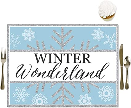 Amazon Com Big Dot Of Happiness Winter Wonderland Party Table Decorations Snowflake Holiday And Wedding Placemats Set 16 Toys Games
