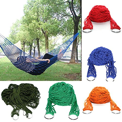 Sleeping Bed Outdoor Travel Camping Hammock Garden Portable Nylon Hang Mesh Net. (Red color) by elephantland