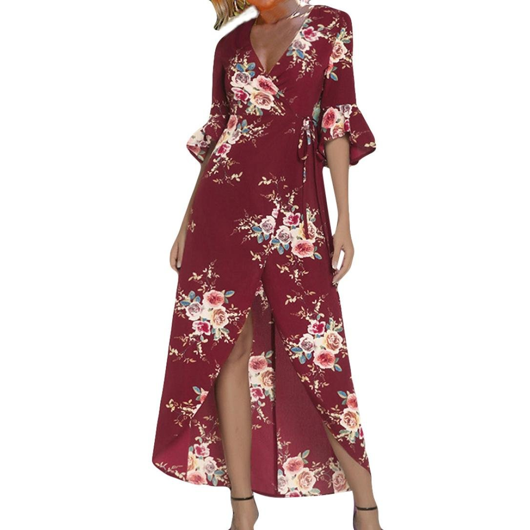 Anyren Womens Half Sleeve Flower Print Half Sleeve Long Casual Loose Patchwork Maxi Dress (Red, M)