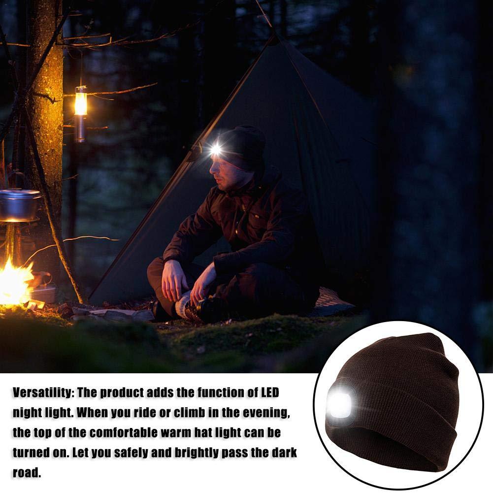 Camping BDRateful LED Strickm/ütze warme wiederaufladbare LED-Scheinwerferkappe Strickm/ütze f/ür die Jagd Grillen Laufen