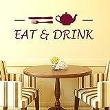 Decals Design 'Cafe Eat and Drink' Wall Sticker (PVC Vinyl, 70 cm x 25 cm x 1 cm, Brown)