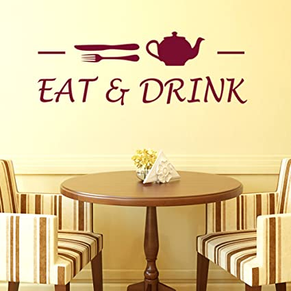 Buy Decals Design Cafe Eat And Drink Wall Sticker PVC Vinyl 70 Cm X 25 1 Brown Online At Low Prices In India