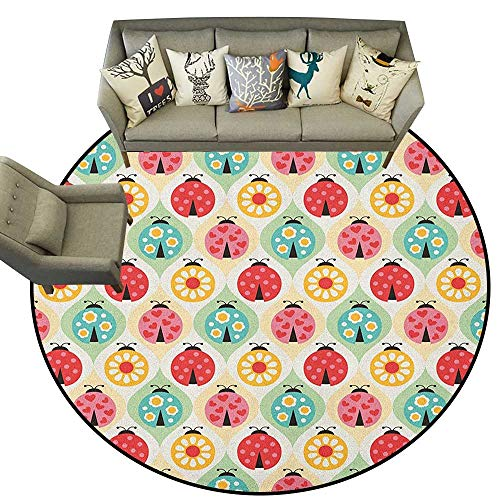 Kids,Personalized Floor mats Ladybugs Cartoon Pattern with Retro Polka Dots Daisy Blossoms and Little Hearts Love D54 Floor Mat Entrance Doormat ()