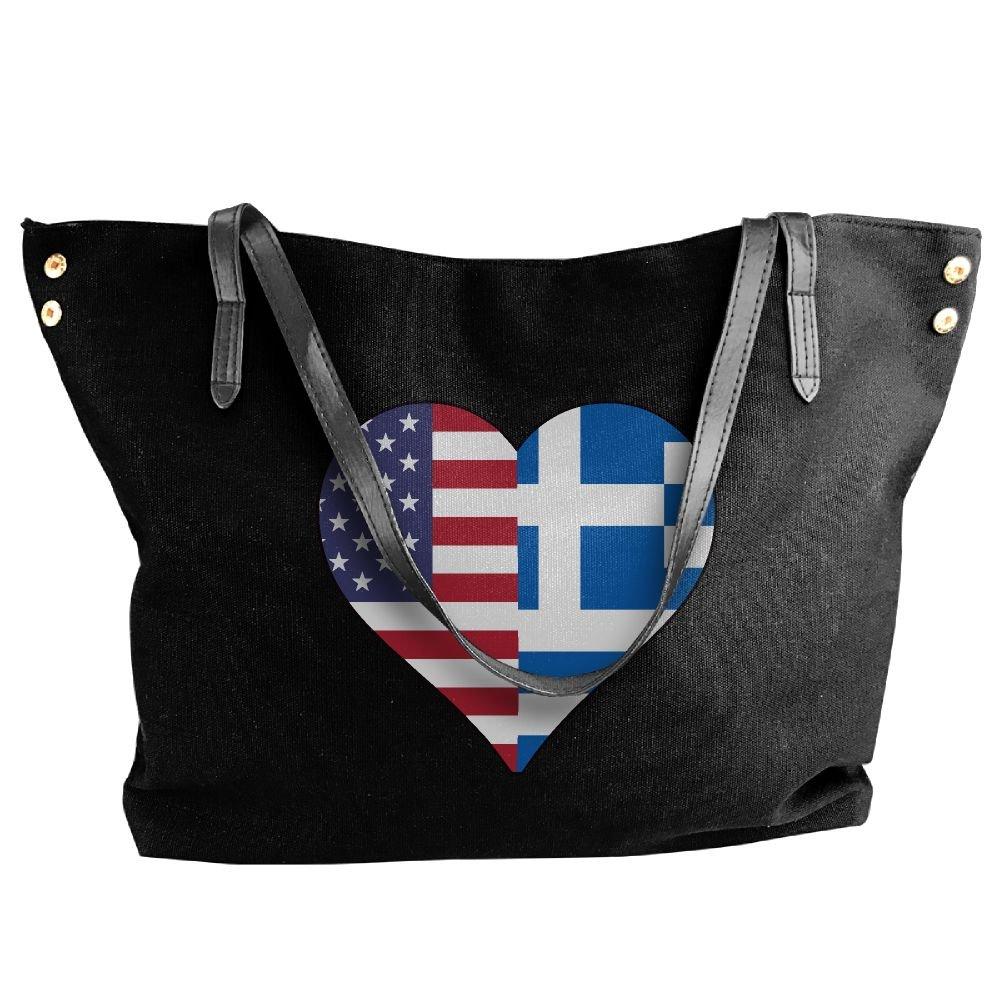 Women's Half Greece Flag Half USA Flag Love Heart Canvas Shoulder Bag Handbags Tote Bag Casual Shopping Bag