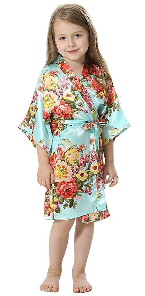 JOYTTON Girl's Satin Floral Kimono Bathrobe Flower Girl Getting Ready Robe