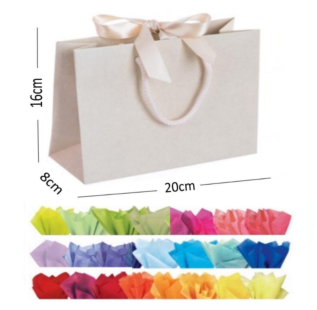 Ivory Landscape Large Paper Party Gift Bags ~ Boutique Shop Bag /& Tissue